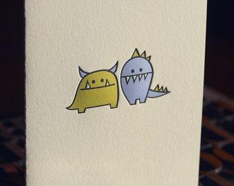 Monsters Letterpress Folded Card