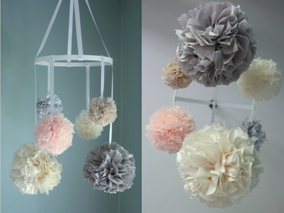 Nursery mobile with lace baby mobile crib mobile by for Pom pom room decor