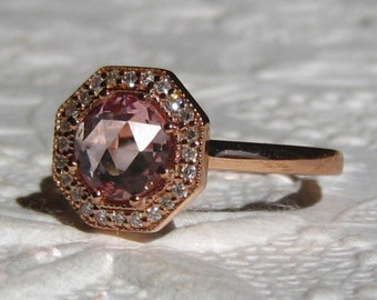 Peach Sapphire Engagement Ring, Peachy Pink Rose Cut Sapphire in Art Deco Inspired Octagon Diamond Halo Rose Gold Engagement Ring