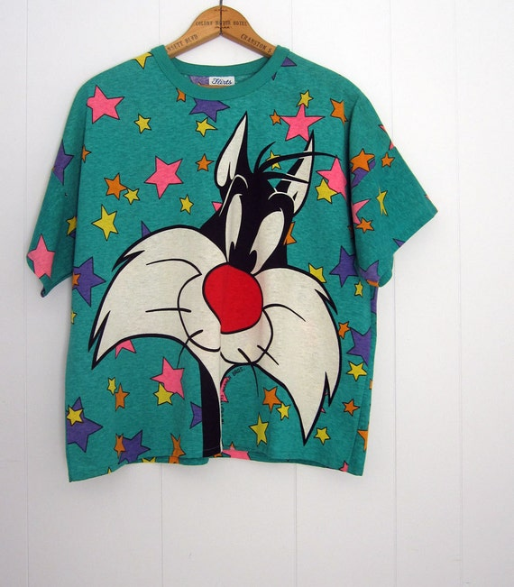 vintage looney tunes sylvester cat boxy 90s t shirt