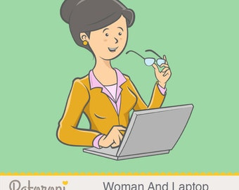 Woman And Laptop - Illustration