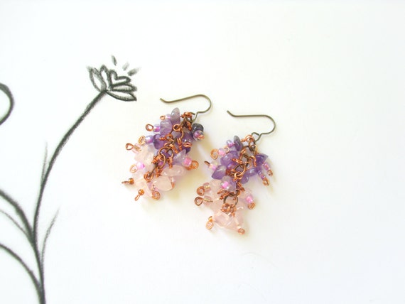 Amethyst and Rose Quartz Cluster Earrings- Pink and Purple Wire Wrapped Earrings with Copper Wire, Hypoallergenic with Niobium Earring Hooks
