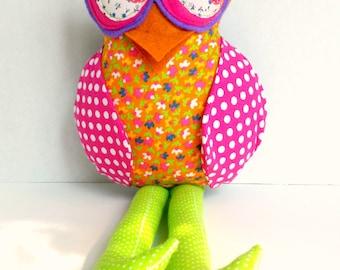 Plush owl doll, Stuffed animal owl, Child friendly toy, Cloth owl, Orange pink lime, Polka dot owl, Patchwork fabric owl, Owl decoration