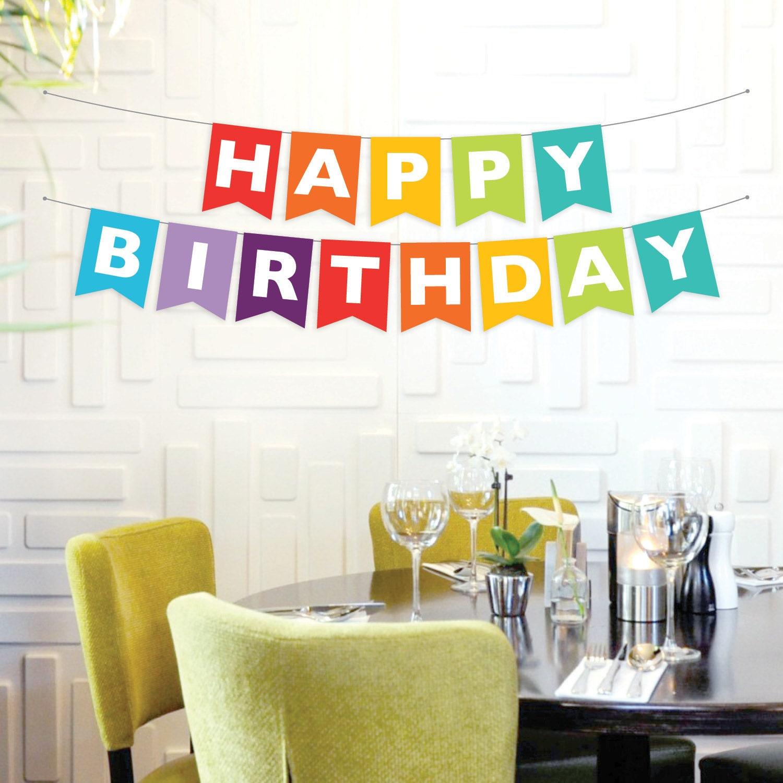 Instant Download Happy Birthday Banner Rainbow Birthday