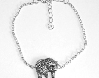 Bear Anklet, Handmade, English Pewter on Silver Plated Chain, (ab)