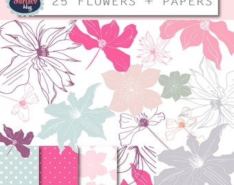 Clipart floral, flower clipart, wedding clipart, rose clipart, rustic boho clipart, pink roses, summer clipart, png floral png