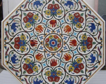 Marble inlay dining table / Pietra Dura Hand made stone inlaid patio tables
