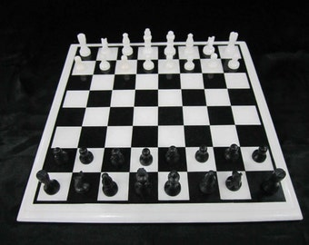 Chess set antique / chess board / marble inlay chess table