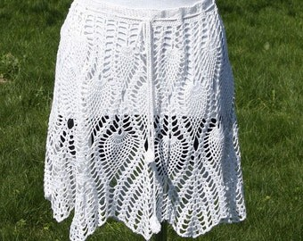 Handknitted beach skirt/mantle - white color - 100% bamboo