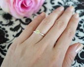 1/2 carat 5mm Solitaire Engagement Ring, 4 Prong, Round Man Made Peridot, Wedding, Promise Ring, Bridal, Sterling Silver or 14k Gold