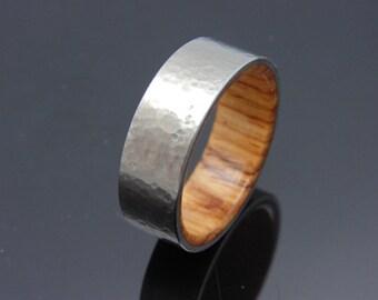 Hammered Titanium ring, wood ring  Honduran Rosewood wedding band