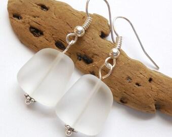 White Sea Glass Earrings,Sea Glass Jewelry,Seaglass Earrings,Seaglass Jewelry,Beach Glass Jewelry,Beach Glass Earrings,Beach.Free Shipping