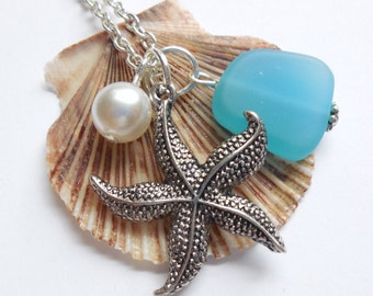 Blue Opal Sea Glass Necklace, Charm necklace, Pearl, Starfish Necklace, bridesmaid necklace, beach wedding. FREE SHIPPING within the U.S.