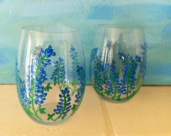Hand Painted Texas Bluebonnet Stemless Wine Glasses - set of 2