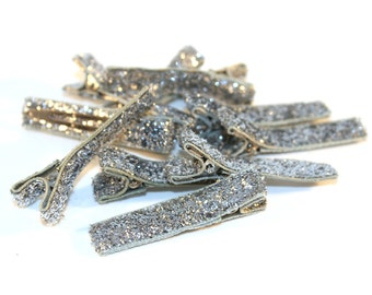 10 Partially Lined Clips - Silver Glitter