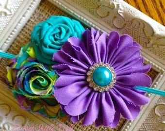 Purple n Teal Shabby Flower Headband