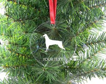 Personalized Custom Doberman Pinscher Clear Acrylic Christmas Tree Ornament