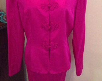 Adrianna Papell Safe Silk Magenta Suit City Casual