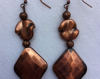 Copper Plated Dangle Earrings on Copper Ear Wires