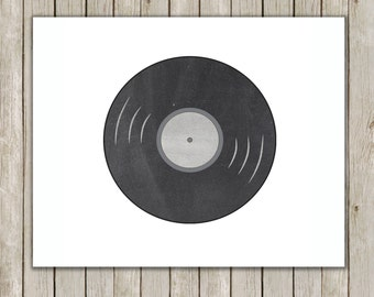 8x10 Retro Record Print, Chalkboard Printable, Music Wall Art, Music Print, Old School, Home Decor, Record Poster, Instant Digital Download