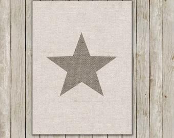 5x7 Star Art Print, Burlap Wall Print, Modern Wall Art, Minimal Home Decor, Nursery Decor, Home Decor, Star Poster, Instant Digital Download