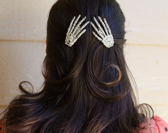 Skeleton Hand Hair Clip Set of Two
