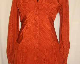 Buttoned trims red ocher St. Laurence dress