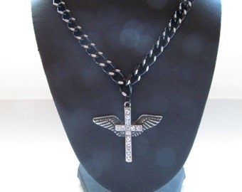 Crystal  cross,  cross, faith jewelry, silver plated cross,winged cross,