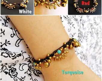 Beautiful Brass Beads Bracelet, Waxed Cotton Cord, Adjustable Size, Wax String Bracelet Handmade Jewelry. (JB1033)