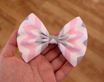 """4.5"""" pink gray chevron hair bow clip, pink gray hairbow, chevron hairbows, pink gray bow, girls hair bow, teens hair bow, cute hair bow"""