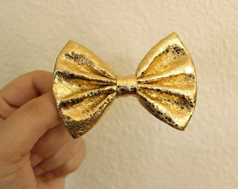 "3"" shiny gold metallic fabric hair bow clip, small bow, gold hair bow, metallic hair bow, gold hair clip, modern hair bow for teens women"