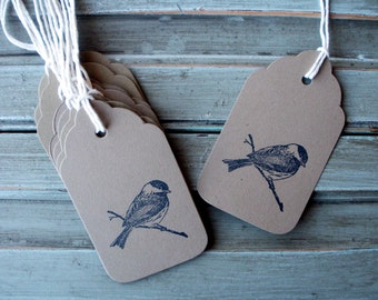Chickadee Tags, thank you, wedding tags, Christmas tags, birthday gift tags, brown kraft gift tags, hand stamped, bird tags, set of 10 tags