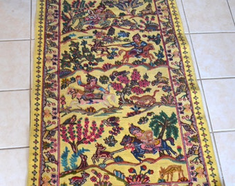 Vintage Antique Souf Kashan Persian Carpet,Hand Woven Rug, Iranian Rug,Hand Knotted Rug