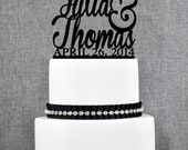Wedding Cake Toppers with First Names and DATE, Unique Personalized Cake Toppers, Elegant Custom Mr and Mrs Wedding Cake Toppers - (S004)