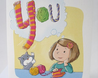 Thinking of You note card with envelope / blank inside /cute happy colorful yarn art with cat and girl by Kathe Keough