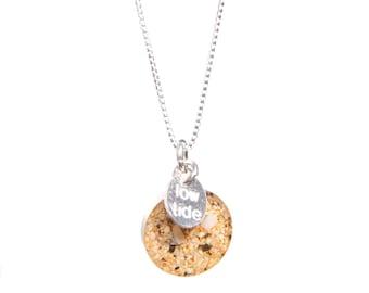 Sterling silver 12mm round Kauai sand pendant