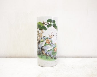 Chinese Capstand Vase with Cranes in Landscape