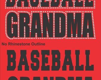 Baseball Grandma Hoodie/Baseball Grandma Shirts/ Baseball Sweatshirt/ Vinyl Rhinestone Baseball Grandma Hoodie Sweatshirt/ Many Colors