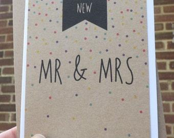 Handmade, Brand New Mr & Mrs Card, personalised