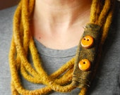 Mustard felted wool statement necklace