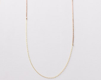 Amina - long gold necklace - 14k gold and brass layering necklace - minimal long chain necklace - long layering necklace