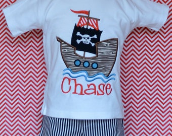 Personalized Pirate Ship Applique Shirt or Onesie Boy or Girl