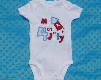Personalized 1st First 4th of July Patriotic Fireworks Firecracker Applique Shirt or Onesie Girl Boy