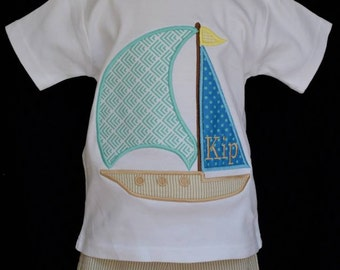 Personalized Sail Boat Applique Shirt or Onesie Boy or Girl