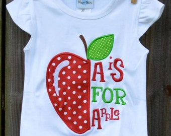 Personalized A is for Apple Applique Shirt or Onesie Girl