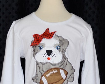 Personalized Team Name & Baby Bulldog with Football Applique Shirt or Onesie