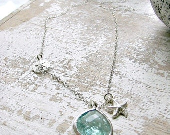 925 Sterling Silver Sand Dollar Necklace Starfish Necklace Erinite Necklace Aquamarine March birthstone Beach Wedding Bridesmaid Jewelry