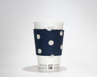 Fabric Coffee Cozy - Tea Cup Cozy - Eco friendly cozy - Dark blue with white polka dots - Premium