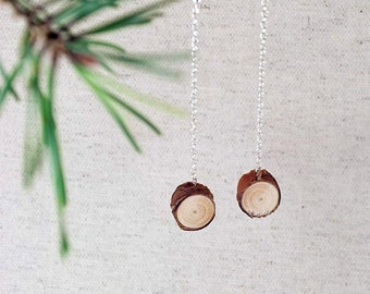 Pine Wood Earrings with Silver tone findings. Handmade in Latvia for nature lovers. Eco friendly.
