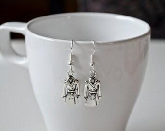 Trench Coat Earrings inspired, Silver Earrings